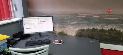 Computer measuring climate control statistics.